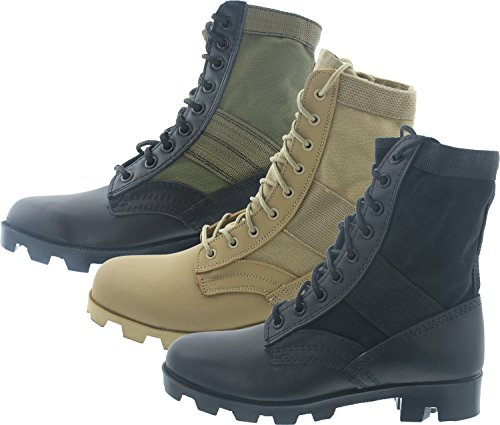 5b4c93fd1bb8 Black Panama Sole Military Leather Jungle Boots 5081