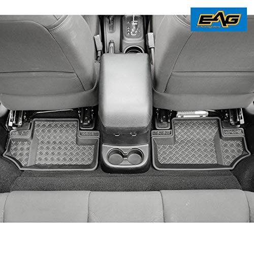 EAG Black Floor Mat Carpet Liner Kit Rear Row 2 Door Fit for 2007-2018 Jeep Wrangler JK (2 Door Models)
