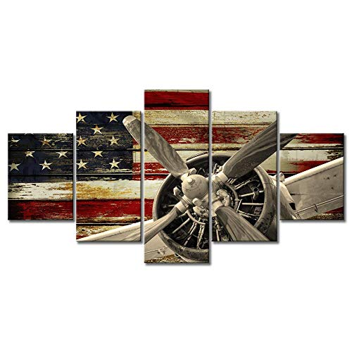 (Prints Retro Warplanes Canvas Wall Art for Living Room Home Decor Vintage American Flag Fighter Bomber Head Propelle Pictures 5 Pcs Poster Military Aircraft Painting Framed Ready to Hang (60''Wx32''H))