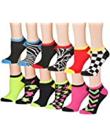 Tipi Toe Women's 6 or 12 Pack Colorful Patterned No Show Socks