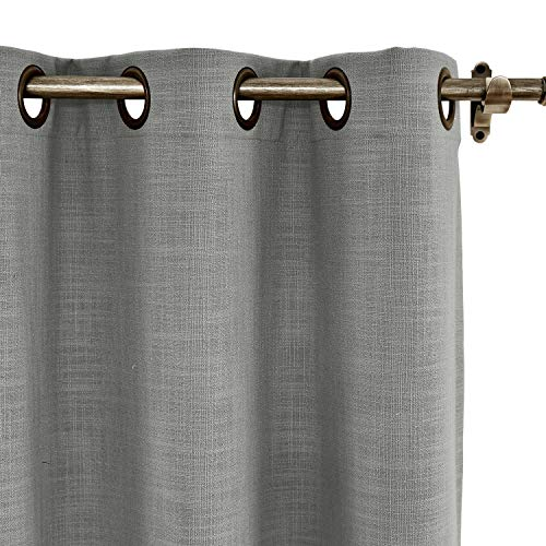 (ChadMade 120W x 84L Inch Rock Grey Linen Polyester Curtain Drapes with Blackout Lining, Room Darkening Antique Bronze Grommet Curtain for Sliding Glass Door Patio Door Living Room (1 Panel))