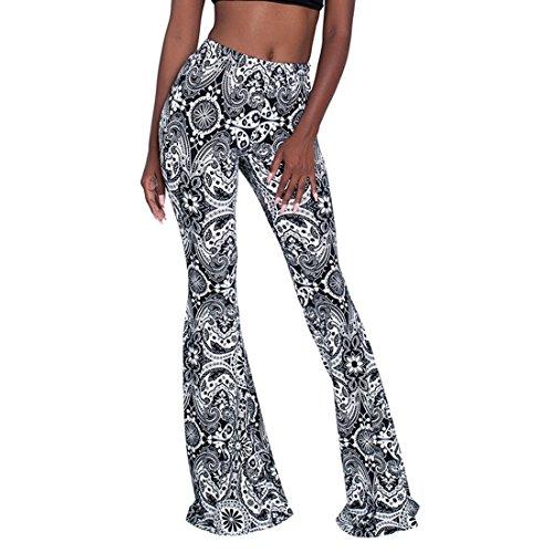 Women's Flare Palazzo Pants Boho Print Long Length Casual Trousers Black L Long Length Pant