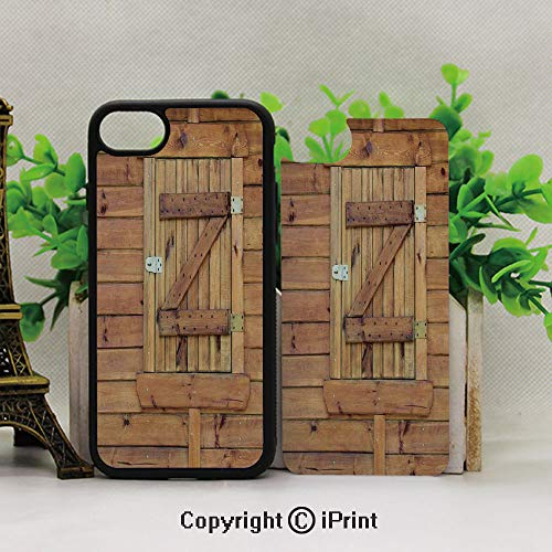 (Full Body Protector Shockproof Cover,Applicable to The 7Plus/8Plus of The iPhone,Closed Wooden Shutters Planks Rough Grunge Countryside Classical Design PrintGolden and Oak )
