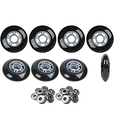 Player's Choice Inline Skate Wheels Hilo Set 76mm 80mm 82A Black Outdoor Hockey -ABEC 9 Bearings : Sports & Outdoors