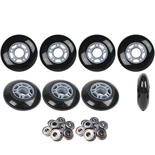 Inline Skate Wheels HILO SET 72mm 80mm 82A Black Outdoor Hockey -Abec 9 Bearings Hockey Bearings