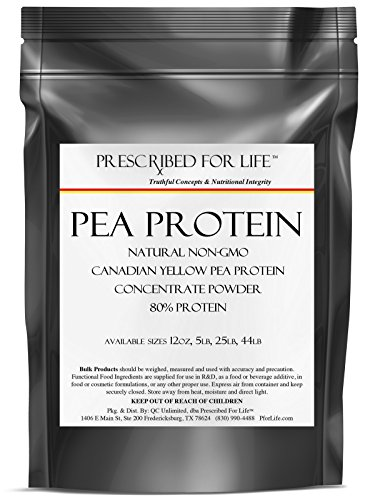 Pea Protein - Natural Non-GMO Canadian Yellow Pea Protein Concentrate Powder - 80% Protein, 12 oz