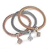 Charm Bracelet, UHIBROS 3PCS Corn Chain Stretch Rope Bracelet Set Bangle Jewelry Gold Silver Rose Gold Plated With Cube Pendant Embedded Crystal For Women Girls