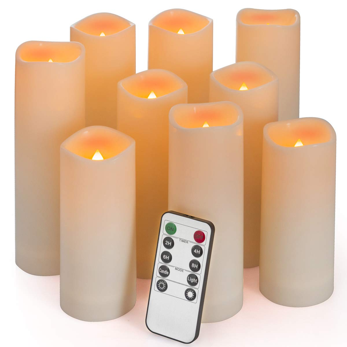Flameless Candles, Waterproof Outdoor Candles set of 9 ( D 2.2'' X H 5''5''6''6''6''7''7''7''7'' ) LED Candles Battery Operated Candles with Remote Timer, Ivory White by Enido (Image #2)