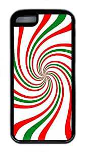 IMARTCASE iPhone 5C Case, Festive Holiday Candy Cane Swirl Design Durable Case Cover for Apple iPhone 5C TPU Black