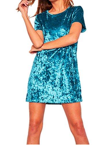 Menglihua Women Vintage Velvet Short Sleeve Crew Neck Casual T Shirt Mini Party Dress Blue M