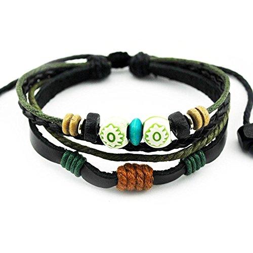 Double Wood Beads Multi Strand Leather Bangle Unique Adjustable Length Wrap Bracelet By LEO BON