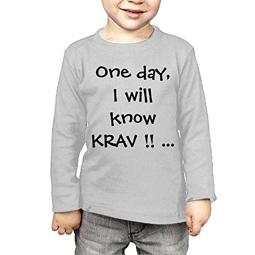 ZheuO Boys & Girls Baby One Day I Will Know Krav MAGA Soft 100% Cotton Tee Unisex Gray 2 - Delivery Times Ups Worldwide
