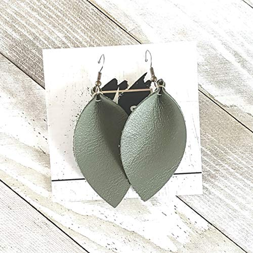 Olive Green/Leather Statement Earrings/Joanna Gaines Earrings/Leaf Earrings/Leather Earrings ()