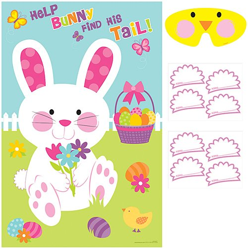 - Egg-stra Special Easter Party Pin-The-Tail On the Bunny Game, Paper, 37