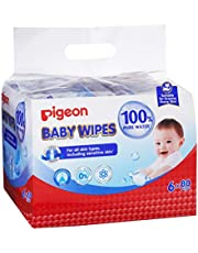 Pigeon Baby Wipes Pure Water, 80ct (Pack of 6), Packaging may vary