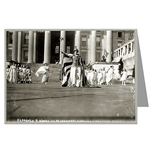 Six 5x7 Vintage Historic Greeting Cards of Actress Hedwig Reicher Wearing Costume of Columbia other Suffragette Participants in Background Treasury Building 1913, Washington