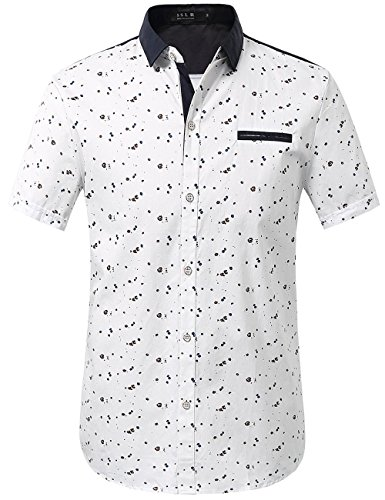 (SSLR Men's Printed Button Down Casual Short Sleeve Cotton Shirts (X-Large, White) )