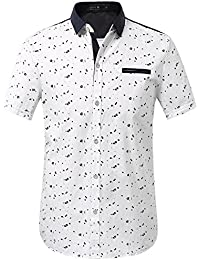 Men's Printing Pattern Button Down Casual Short Sleeve Shirts