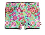 City Threads Girls' Swimming Suit Bottom Boy Short UPF50+ Sun Protection For Beach Pool Summer Fun, Bright Flower, 12