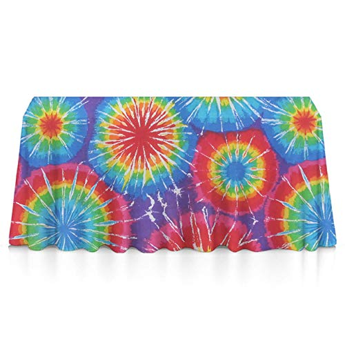 KYWYN (Awesome Tie Dye) Water Resistance Dining Table Cloth for Kitchen/Home/Hotel/Cafe/Restaurant, Heat Moisture Resistance Indoor Outdoor Table Covers - 52x70 inch (Fabric Holidays Quilt Cotton)