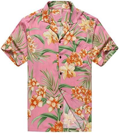 Made in Hawaii Men's Hawaiian Shirt Aloha Shirt Orange Floral with Green Leaf in Pink