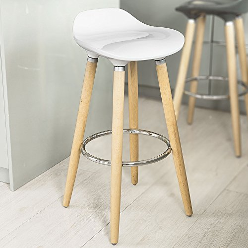 Sobuy Abs Plastic Bar Stool Kitchen Breakfast Barstool With Wooden Legs Fst34 W Buy Online