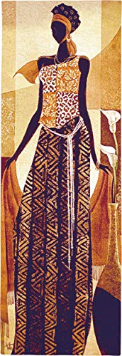 Malaika by Keith Mallett | Woven Tapestry Wall Art Hanging | Woman African Cultural Art Colorful Traditional Dress Warm Tones | 100% Cotton USA 48X16 ()