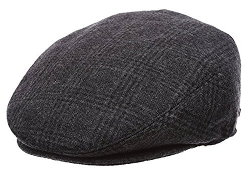 Men's Premium Wool Blend Classic Flat Ivy Newsboy Collection Hat , 1581-Black, X-Large