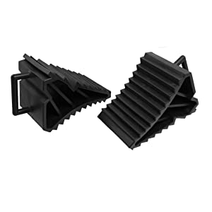 2 Pcs Antislip Vehicle Car Truck Wheel Tire Chock Stop Block Black