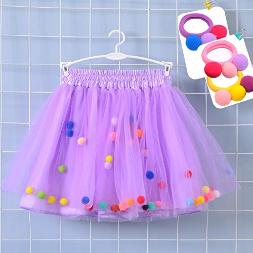 Bingoshine 4 Layers Soft Tulle Puff Ball Girls Tutu Skirts with Silky Lining Colorful Princess Costumes for Dressing Up. (Light Purple, M,1-3 -