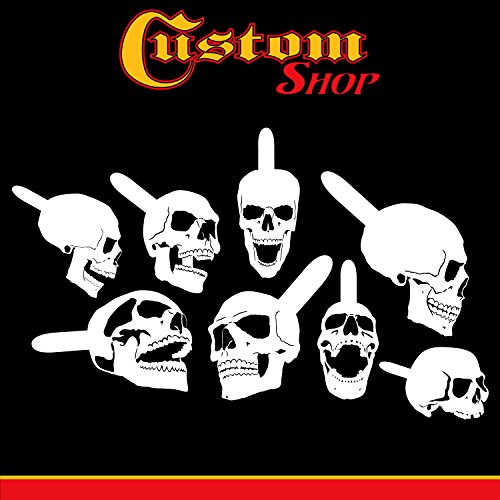 Custom Shop Airbrush Stencil Skull Design Set #9 (8 Different Mini Skull Designs) - 8 Laser Cut Reusable Templates - Auto, Motorcycle Graphic Art Auto Airbrush Stencils
