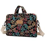 DACHEE Skull Patten Canvas Laptop Shoulder Messenger Bag Case Sleeve for 11 Inch 12 Inch 13 Inch Laptop