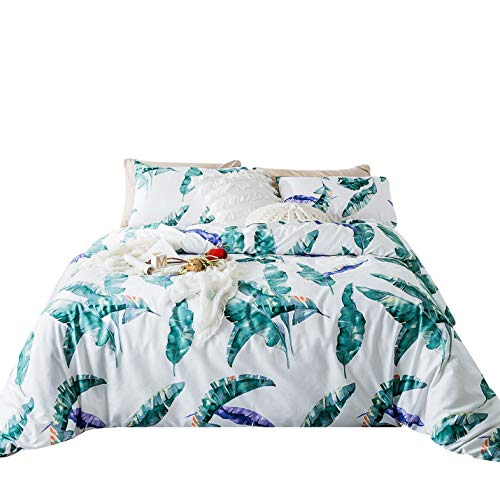 SUSYBAO 3 Piece Duvet Cover Set,100% Egyptian Cotton Sateen Tropical Botanical Bedding Set,1 Green Banana Leaves Duvet Cover with Zipper Ties 2 Pillowcases-Hotel Quality Silky Soft Durable,Queen Size ()
