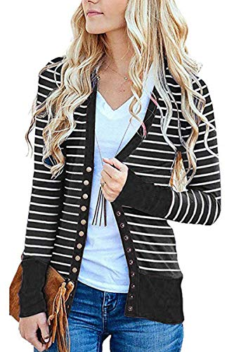 - FAFOFA Open Front Cardigan Coat for Women Stripe Print Casual Loose Winter Sweater Outwear Black L