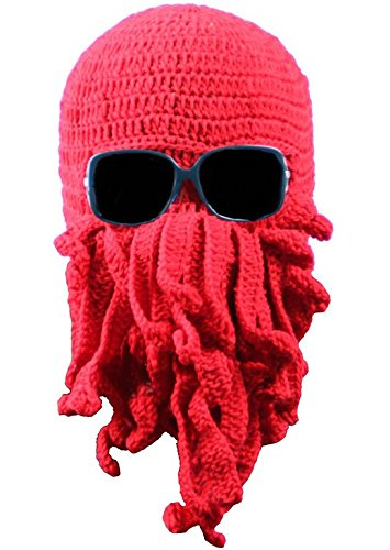 Bear boys Octopus Beanie Hat For Men Winter Warm Skiing Biking Costume Squid Mask (Red) -