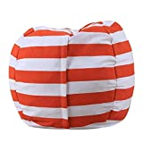 vTopTek Stuff 'n Sit - Stuffed Animal Storage Bean Bag Chair for Kids - Household Storage Bag Large Capacity Canvas Bean Bag (38'', Orange + White)