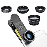 5 in 1 Phone Camera Lens Kit - 198° Fisheye Lens & 0.63x Wide Angle Lens & ...