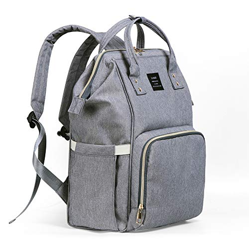 Diaper Backpack, Large Capacity Baby Bag, Multi-Function Travel Backpack Nappy Bags, Nursing Bag, Fashion Mummy, Roomy Waterproof for Baby Care, Stylish and Durable, Linen gray