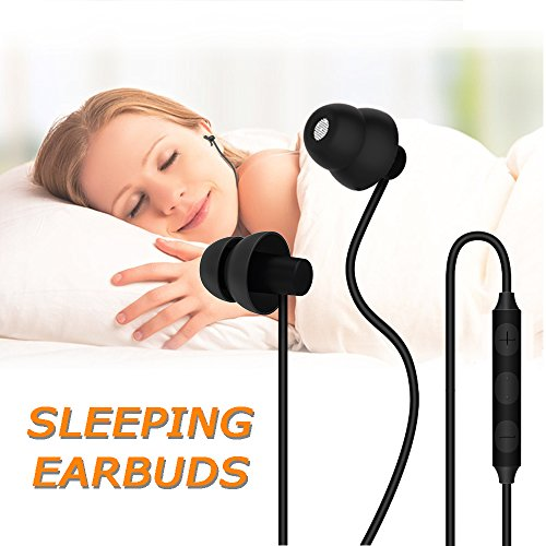 Sleep Headphones, MAXROCK Ultra Soft Comfortable in-Ear Earphones w Mic Volume Control Sound Blocking Earplugs Earbuds Sleeping, Snoring, Bedtime, Relaxation, Air Travel, Insomnia & ()