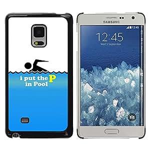 Samsung Galaxy Mega 5.8 - Metal de aluminio y de plástico duro Caja del teléfono - Negro - I Put The P In The Pool - Funny