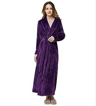 SHANGXIAN Largo Bata Baño Homewear Vestido Mujeres/Hombres Albornoz Franela Camisón Calentar Batas De Baño,Purple(Female),L: Amazon.es: Hogar