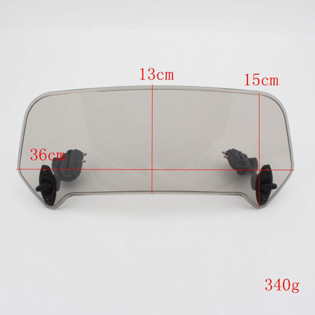 KESOTO Clear Adjustable Clip On Windshield Extension Spoiler Wind Deflector WindScreen Protector for Motorcycle