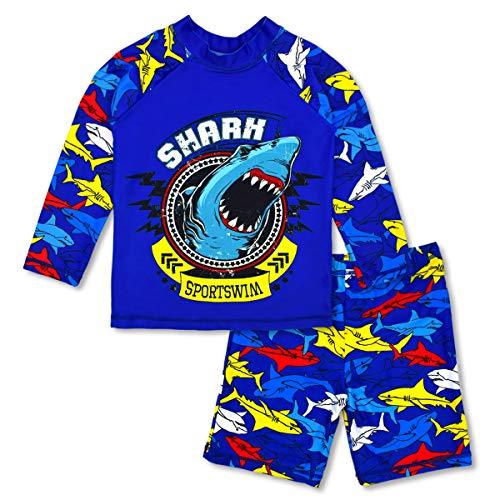 Boys Two Piece Rash Guard Swimsuits Kids Long Sleeve Sunsuit Swimwear Sets 7T ()