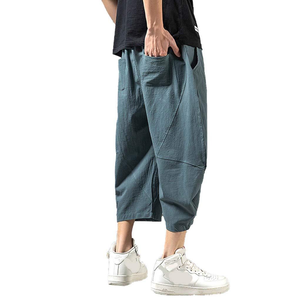 Wide Leg Pants for Men,Sunyastor Men's Baggy Casual Trousers Cotton Linen Loose Harlan Pants Elastic Waist Pants Pockets Blue by Sunyastor men pants (Image #2)