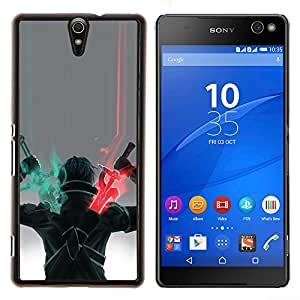 Jordan Colourful Shop - SWORD WARRIOR ART GAME CHARACTER DRAWING For Sony Xperia C5 Ultra - < Personalizado negro cubierta de la caja de pl????stico > -