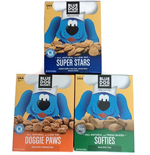 Blue Dog Bakery Bundle of 3 Boxes of Dog Treats Includes One Box of Super Stars, One box of Doggie Paws and One Box of Softies Review