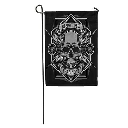 daf200e1d Semtomn Garden Flag Tattoo Respect Skull Lightning Graphic Biker Motorcycle  Diamond Cool Patch Home Yard House