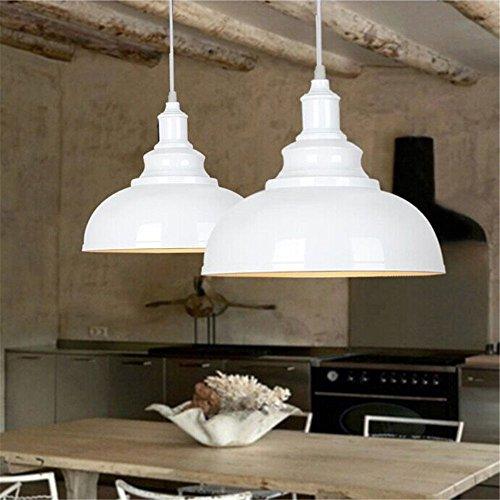 2pcs Vintage Pendant Lamp, Motent Industrial Retro Metal Dome/Bowl Shape Hanging Light in Painted Finish, Antique Minimalist 1-Light Iron Wrought Island Lighting, 11.4