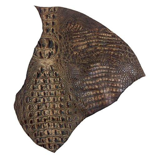 (Italian Hornback Crocodile Embossed Cowhide Leather (1 SQFT, Mocha))