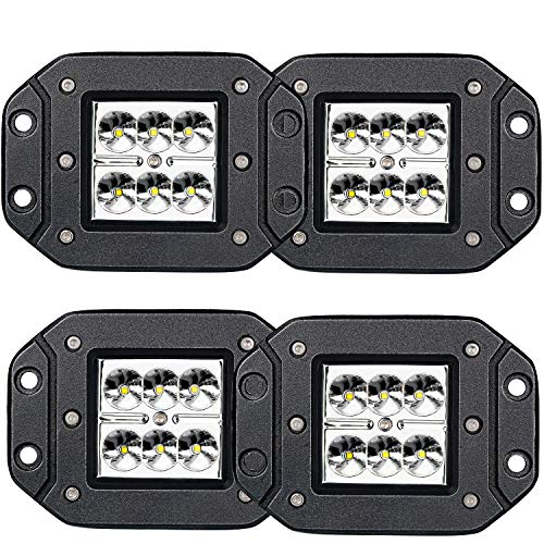 LED Light Bar TURBOSII 4Pcs 3x3in Flush Mount Led Lights Pods Spot Beam Offroad Led Work Lights Bar Driving Fog Lights Boat Light Waterproof Pickup Jeep Truck Tacoma Bumper ATV ()